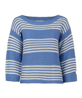 Blue & White Stripe Textured Slouch Jumper