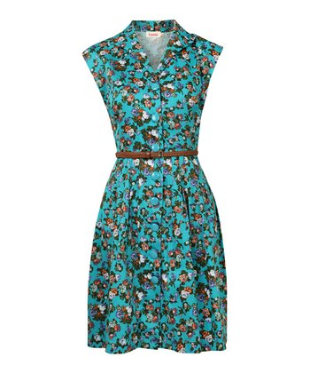 Turquoise Rose Belted Dress