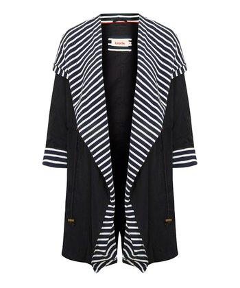 Navy Stripe Hooded Jersey Coat