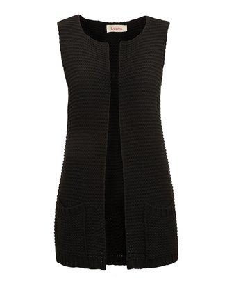 Black Sleeveless Knit Waistcoat