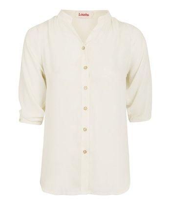 Cream Stand Collar Blouse