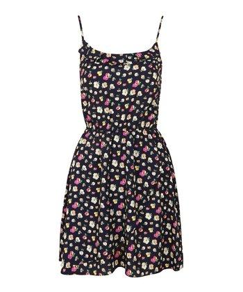 Navy Frill-Neck Floral Strappy Dress