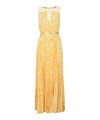Yellow Lace Floral Pleated Maxi Dress