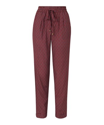 Burgundy Tie-Front Leggings