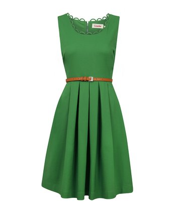 Green Scallop Neck Pleated Dress