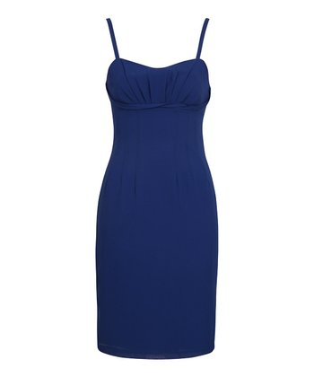 Blue Strappy Pleated Bustier Dress