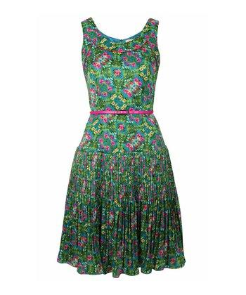 Green & Pink Floral Belted Dress