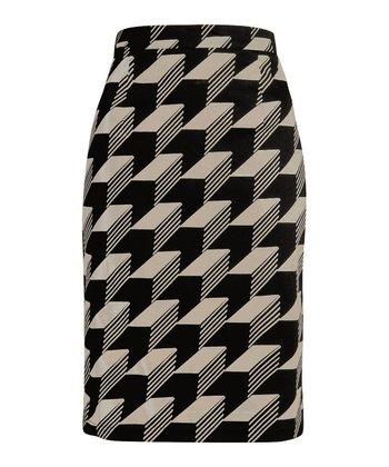 Black & Cream Graphic Pencil Skirt