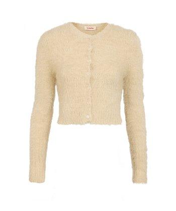 Cream Fluffy Cropped Cardigan