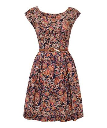 Navy Paisley Flower Full Skirt Dress