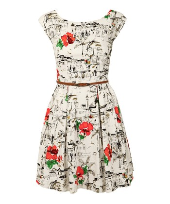 White Riviera Belted Dress