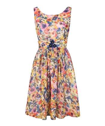 Vintage Floral Waist Dress