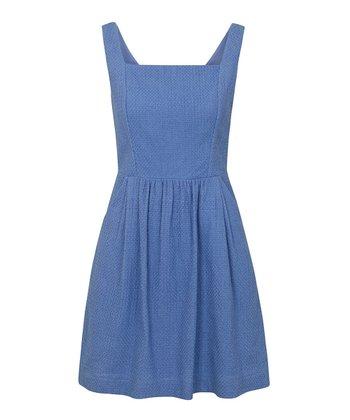 Blue Textured Pocket Sundress