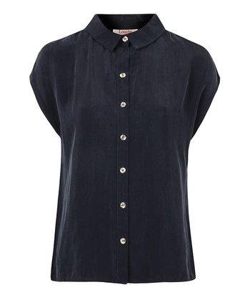 Navy Button-Up Cap Sleeve Blouse