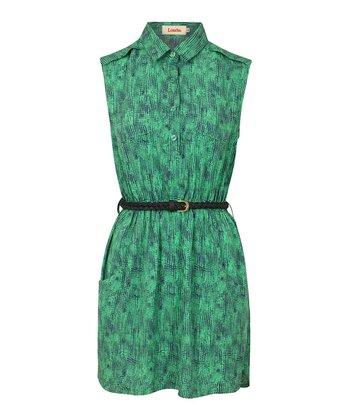 Green Sketch Belted Shirt Dress
