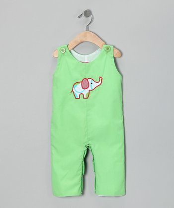 Smocked Gems Lime Elephant Overalls - Infant & Toddler