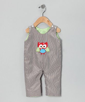 Smocked Gems Brown Owl Reversible Overalls - Infant & Toddler