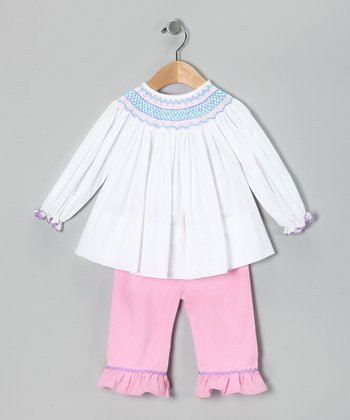 Smocked Gems Light Pink Geo Top Pants - Infant, Toddler & Girls