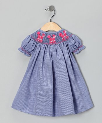Smocked Gems Navy Poodle Bishop Dress - Infant, Toddler & Girls