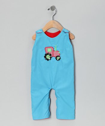Smocked Gems Turquoise Reversible Overalls - Infant & Toddler