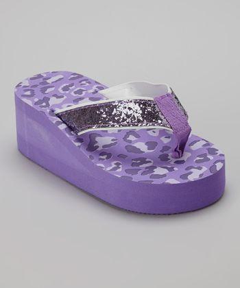 Chatties Purple Leopard Glitter Wedge Flip-Flop