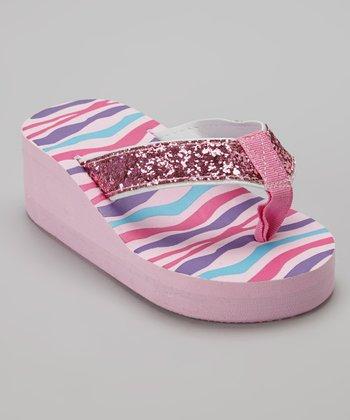 Chatties Light Pink Zebra Glitter Wedge Flip-Flop