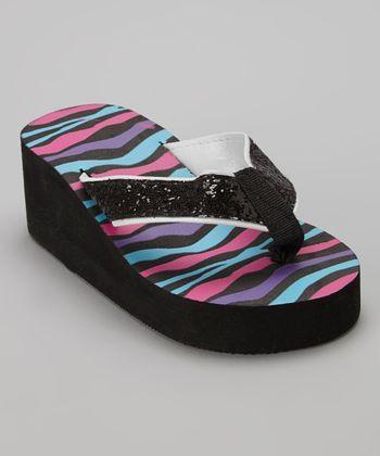 Chatties Black Zebra Glitter Wedge Flip Flop