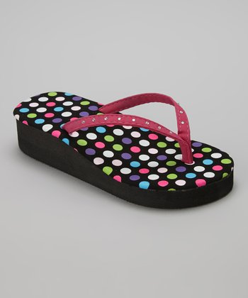 Chatties Pink Polka Dot Rhinestone Wedge Flip-Flop