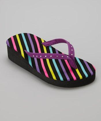 Chatties Purple Stripe Rhinestone Wedge Flip-Flop