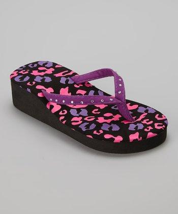 Chatties Purple Leopard Rhinestone Wedge Flip-Flop