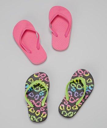 Chatties Black & Pink Cheetah Flip-Flop Set