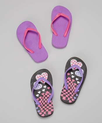 Chatties Black & Purple Checkerboard Flip-Flop Set