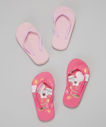 Chatties Fuchsia & Light Pink Swirls Flip-Flop Set