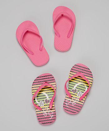 Chatties Pink & Fuchsia Stripes Flip-Flop Set