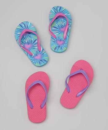 Chatties Blue & Fuchsia Tie-Dye Hearts Flip-Flop Set