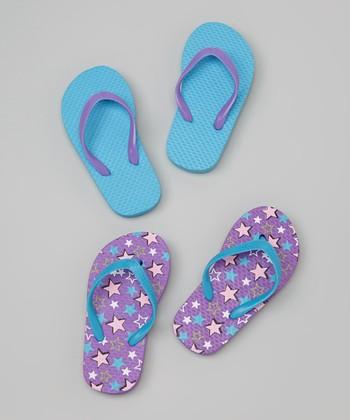 Chatties Purple & Blue Stars Flip-Flop Set