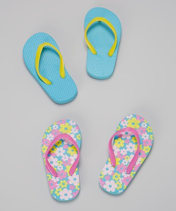 Chatties Pink & Turquoise Flowers Flip-Flop Set