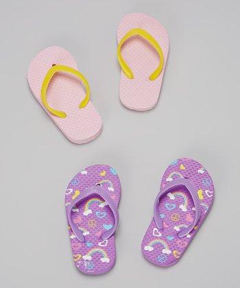 Chatties Purple & Light Pink Rainbows Flip-Flop Set