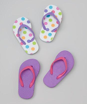 Chatties White & Purple Polka Dot Flip-Flop Set