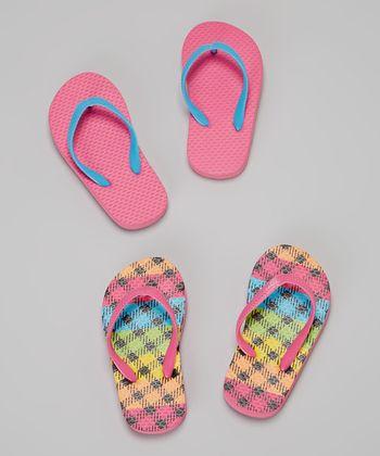 Chatties Pink Flannel & Fuchsia Flip-Flop Set