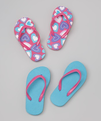 Chatties Pink & Turquoise Hearts Flip-Flop Set