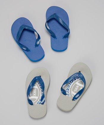Empire Gray & Blue Football Flip-Flop Set