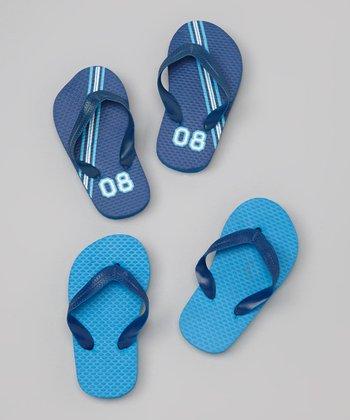 Empire Blue & Turquoise Race Stripes Flip-Flop Set