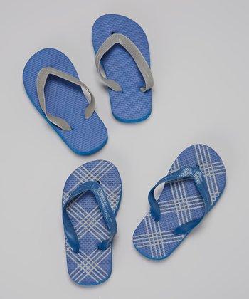 Empire Blue Plaid Flip-Flop Set