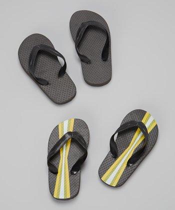 Empire Black & Yellow Stripe Flip-Flop Set