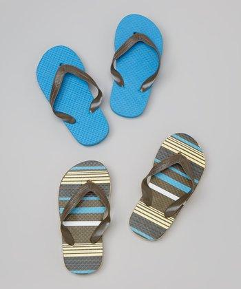 Empire Brown & Turquoise Stripe Flip-Flop Set