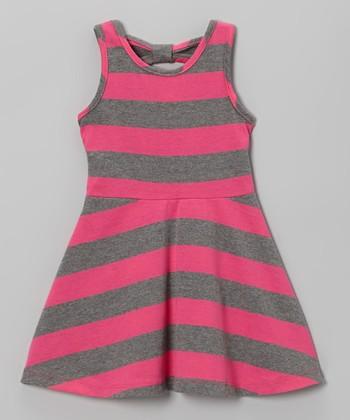 Hot Pink Stripe A-Line Dress - Infant, Toddler & Girls