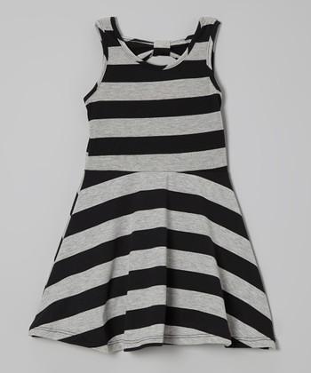 Light Gray & Black Stripe A-Line Dress - Infant, Toddler & Girls