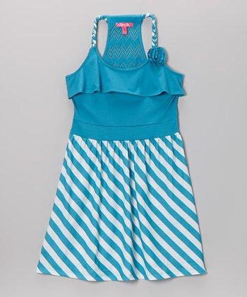 Aqua Stripe Y-Back Dress - Toddler & Girls