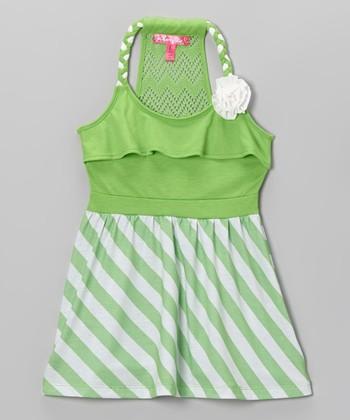 Citrus Lime Stripe Y-Back Dress - Toddler & Girls